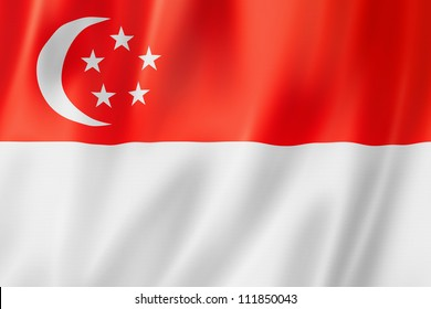 Singapore flag, three dimensional render, satin texture