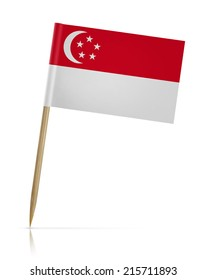 Singapore flag toothpick on white background