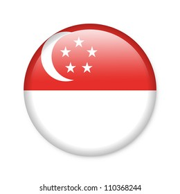 Singapore - glossy button with flag