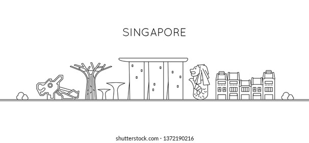 Singapore Icons of Marina Bay Sands, Merlion, Shophouses and Gardens by the Bay - Black and White