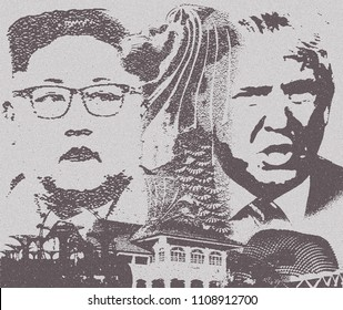 Singapore, June 9,2018: Trump and Kim Summit Singapore on June 12. Illustration.