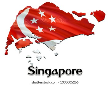 Singapore Map Flag. 3D rendering Singapore map and flag on Asia map. The national symbol of Singapore. Singaporeans flag on Asia background. National Singapore waving flag colorful