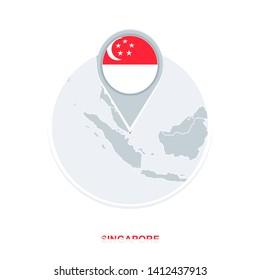 Singapore map and flag, raster copy