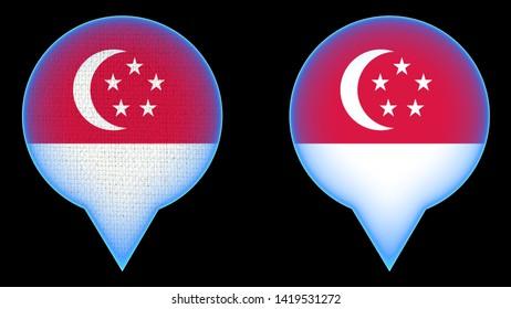 Singapore Map Point Flag - Black Background - 3D Illustration Fabric Texture