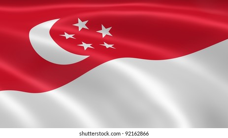Singaporean flag in the wind. Part of a series.