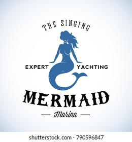 The Singing Mermaid Marina Abstract Retro Logo Template or Vintage Label with Typography. Isolated. Raster Copy.