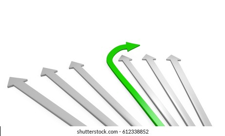 single arrow deviates from the group, in a simple abstract 3d illustration