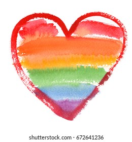 Single big rainbow colored heart painted in watercolor on clean white background