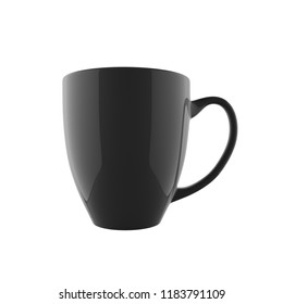 Single Bistro Cafe Mug in Standing Position Mockup Template with Glossy Surface and Black Color Isolated in White Background in Front Close Up View