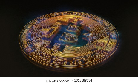 Single bitcoin, digital gold with blue purple nebula colors laying down on a rough reflecting surface.
