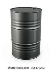 Single black barrel, isolated on white background