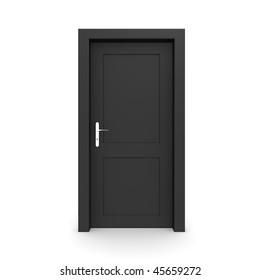 single black door closed - door frame only, no walls