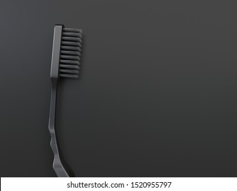 Single black one-color close-up toothbrush is isolated on a black background. Creative conceptual illustration in dark colors with copy space. 3D rendering