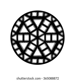 A single black and white wavy geometric medallion. A circular medallion with wavy triangles, squares, rectangles, and hexagon.