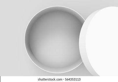 Single blank round box, close up look at paper box mockup with its lid lean on it isolated on light gray background, top view of 3d rendering