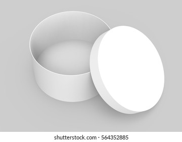 Single blank round box, paper box mockup with its lid lean on it isolated on light gray background in 3d rendering