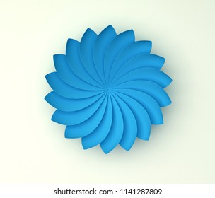Single blue decorative flower on white background. Paper color origami. 3d render illustration.