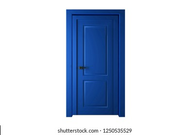 Single blue door closed - door frame only, no walls. 3D render.