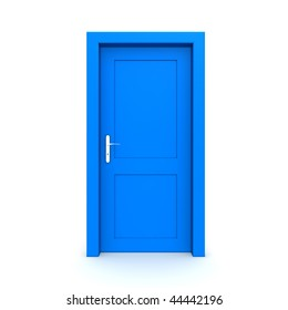 single blue door closed - door frame only, no walls