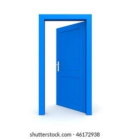 single blue door open - door frame only, no walls