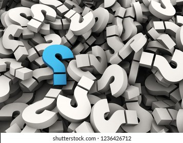 Single blue question mark standing out in a pile. 3D illustration