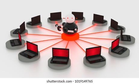 Single bot in the circular center of platforms connected to laptops botnet concept 3D illustrations