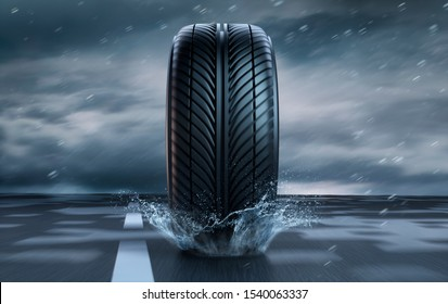 Single car tire standing on a rainy road - heavy weather - 3D illustration