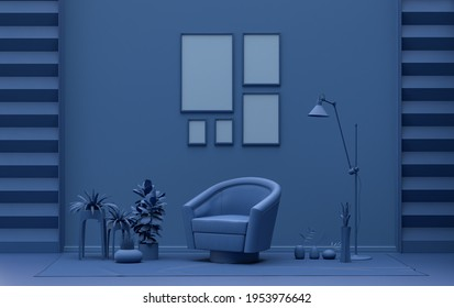 Single color monochrome dark blue color interior room with furnitures and plants,  five picture frames on the wall, 3D rendering, poster frame mockup scene