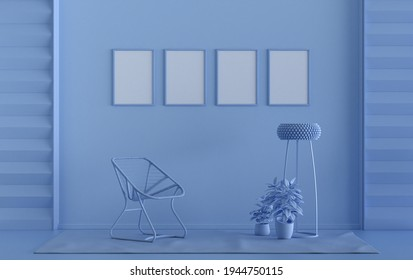 Single color monochrome light blue color interior room with furnitures and plants,  4 frames on the wall, 3D rendering, poster frame mockup scene