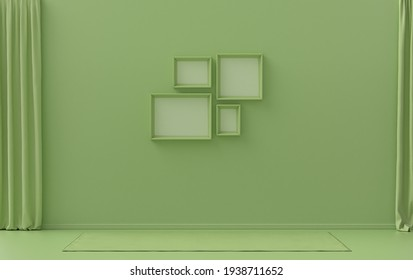 Single color monochrome light green color interior room without furniture and empty,  4 frames on the wall, 3D rendering, poster frame mockup scene