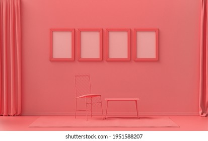 Single color monochrome light pink, pinkish orange color interior room with single chair, without plant,  4 frames on the wall, 3D rendering, poster frame mockup scene