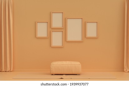 Single color monochrome orange pinkish color interior room with middle ottoman puff without plants,  five picture frames on the wall, 3D rendering, poster frame mockup scene