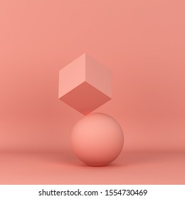 Single cube standing on a sphere. Minimal scene. 3d illustration