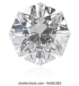 Single cut diamond isolated on white background