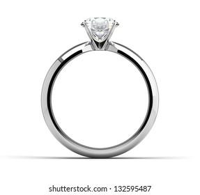 Single diamond ring on white