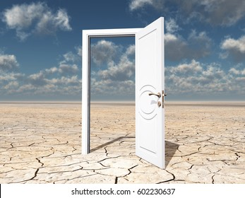 Single door in desert  3D Render
