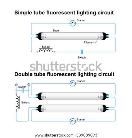 single double tube fluorescent lighting circuit stock illustration rh shutterstock com