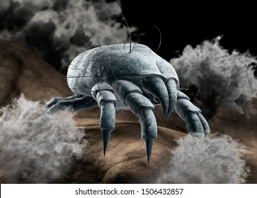 Single dust mite with dust particles on skin surface - 3D illustration