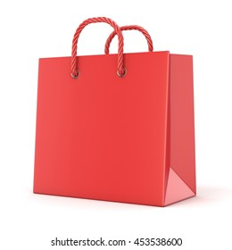 Single, empty, red, blank shopping bag. 3D render illustration isolated on white background