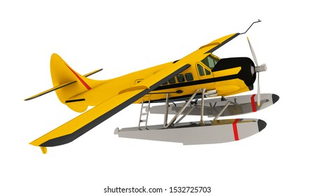 Single engine seaplane from the 1950s isolated on white background Computer generated 3D illustration
