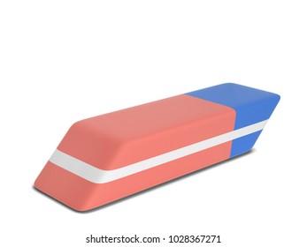 Single eraser. 3d illustration isolated on white background