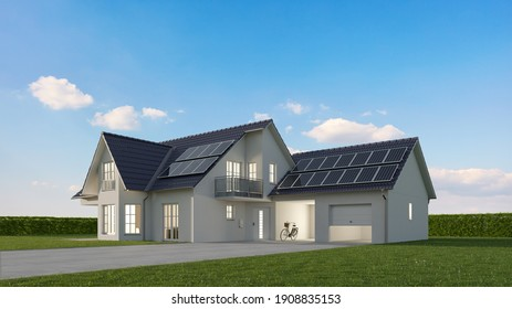 Single family house on a green meadow with solar panels in front of a blue sky as a sustainability concept (3d renderings)