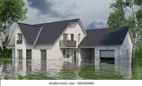 Single family house with water damage after flooding (3D Rendering)
