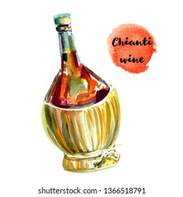 A single fiasco bottle of Chianti wine with a wicker basket base. Vertical format isolated on white hand painted watercolor illustration
