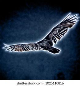 Single flying eagle on dark background. Neon colors illustration