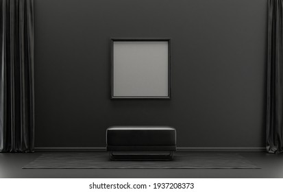 Single Frame Gallery Wall in black and dark gray color monochrome flat room with middle ottoman puff without plants, 3d Rendering, poster mockup room