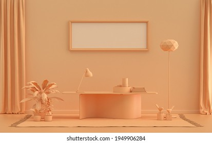 Single Frame Gallery Wall in orange pinkish color monochrome flat room with office desk, furnitures and plants, 3d Rendering, poster mockup room