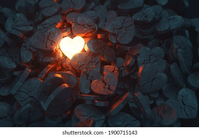 A single glowing heart shines among many broken hearts. 3D rendered illustration