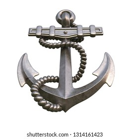 Single golden realistic anchor with metal on white background isolated 3d illustration