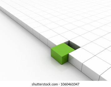 Single green cube standing out. Business concept 3d render